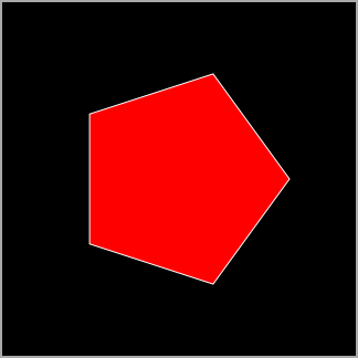 Drawing a procedurally generated pentagon.