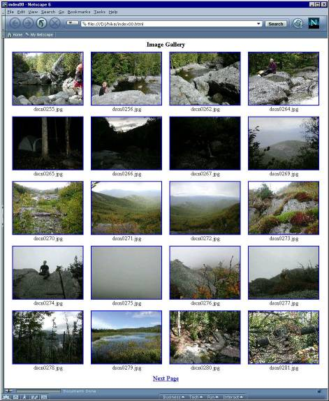 Screenshot of hiking photos