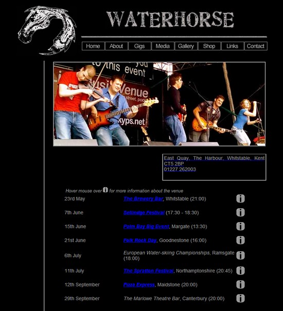 Waterhorse web page 2008-05-20