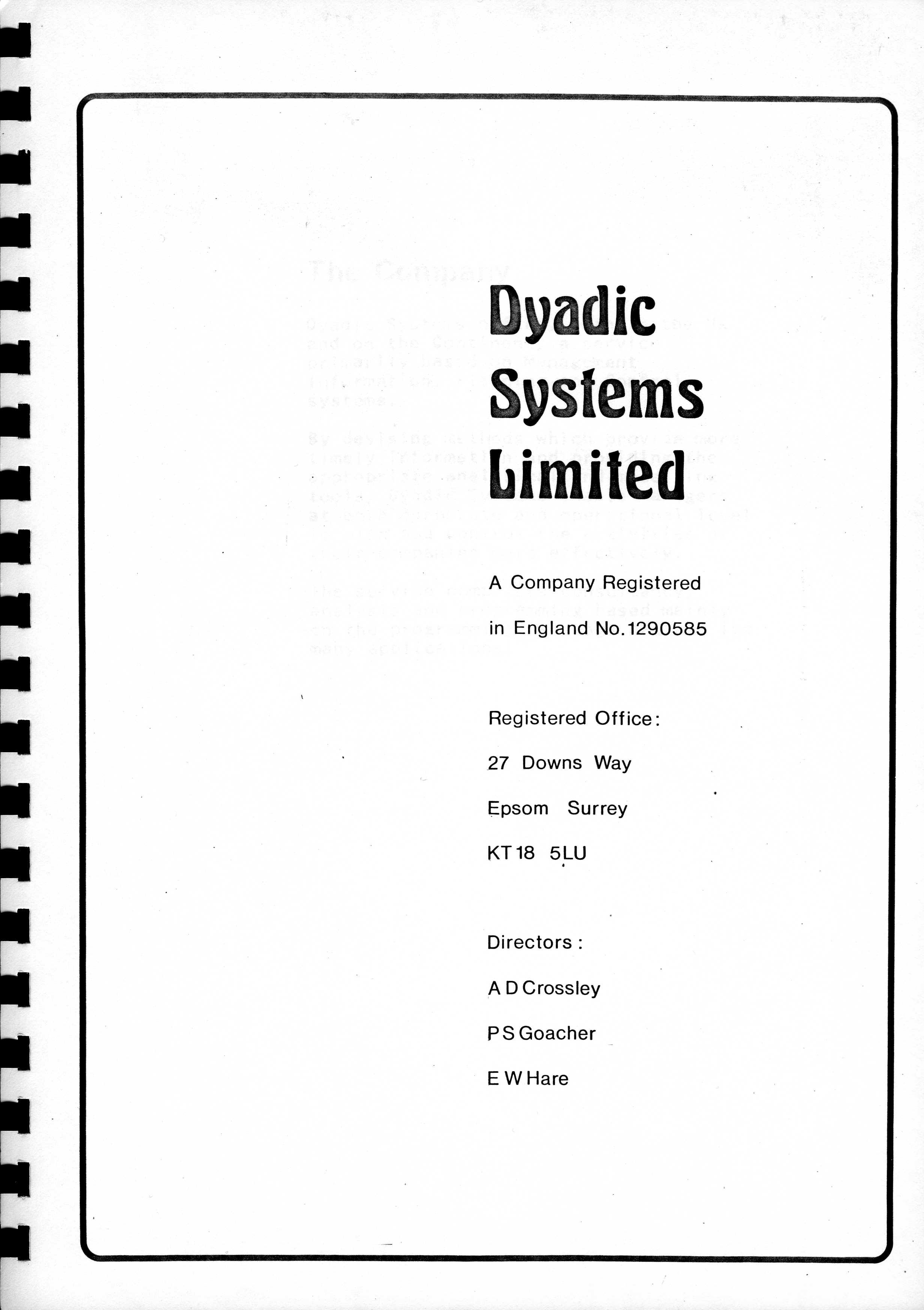 Dyadic Systems Ltd corporate brochure